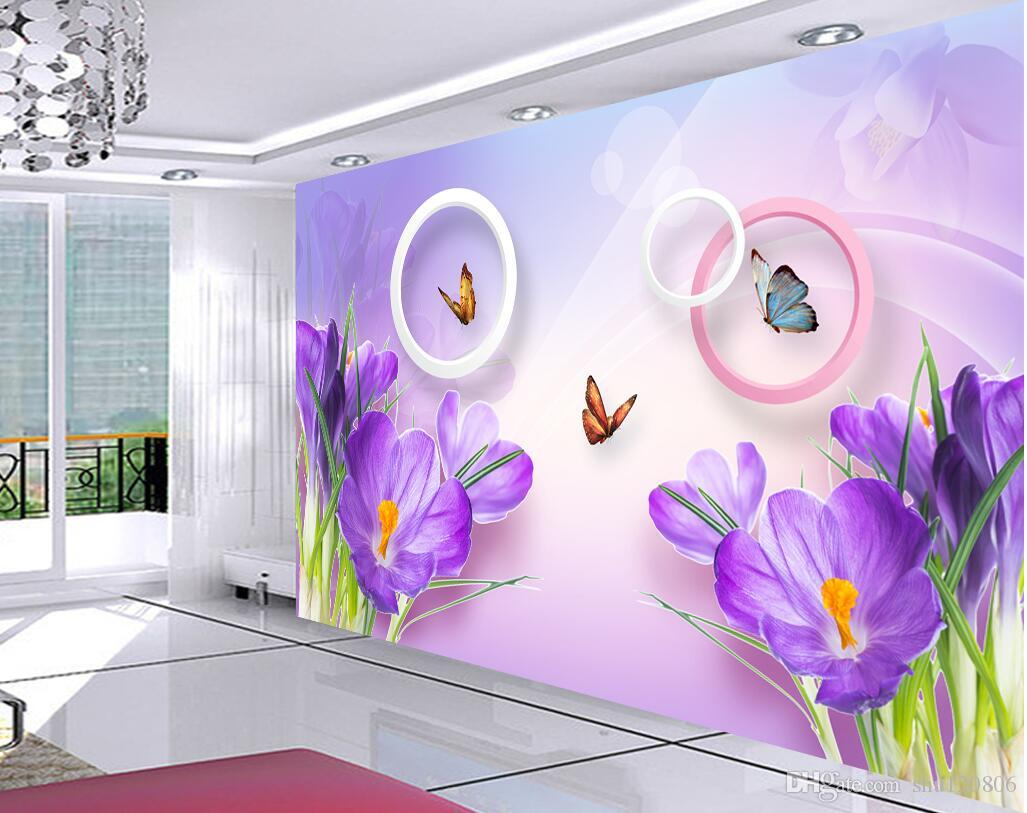 WDBH 3d wallpaper custom photo Butterfly purple flower fashion tv background living room Home decor 3d wall murals wallpaper for walls 3 d