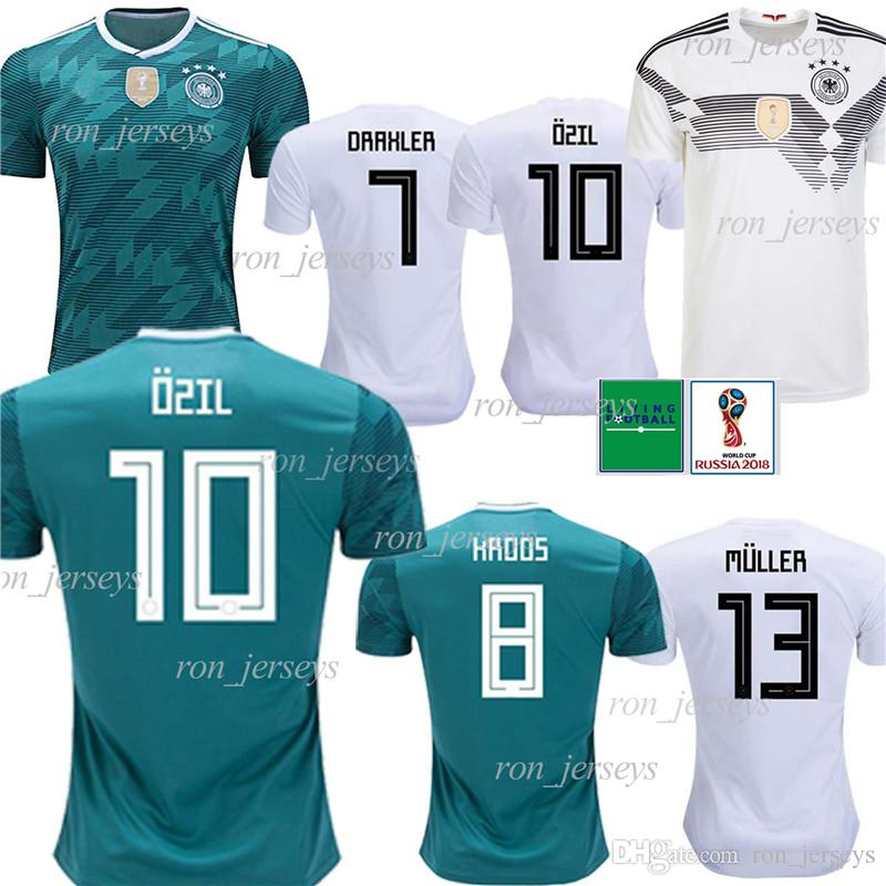 Thai Germany 13 MULLER Home/Away Soccer Jersey 8 KROOS Soccer Shirt 5 HUMMELS 17 BOATEN new maillot de foot 2018 World Cup