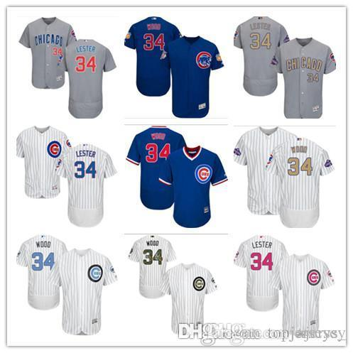 cea3925c1 2018 Custom Men Women Youth Majestic Chicago Cubs Jersey  34 Kerry Wood 34 Jon  Lester Home Blue Grey White Baseball Jerseys From Ajersey