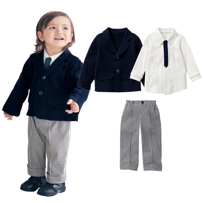 d6b1d39a5b8 2019 Handsome Gentleman Boys Clothing Set Spring Autumn Jacket Coat + Shirt  + Pants Baby Boys Clothes Suit Set Children Costume From Yosicil04
