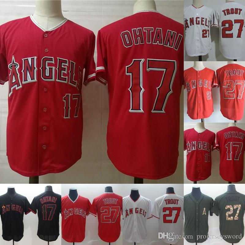 Mens Angels Jersey 17 Shohei Ohtani 27 Mike Trout Los Angeles Baseball Jerseys Cheap Red White Green Black Fast Shipping S-XXXL