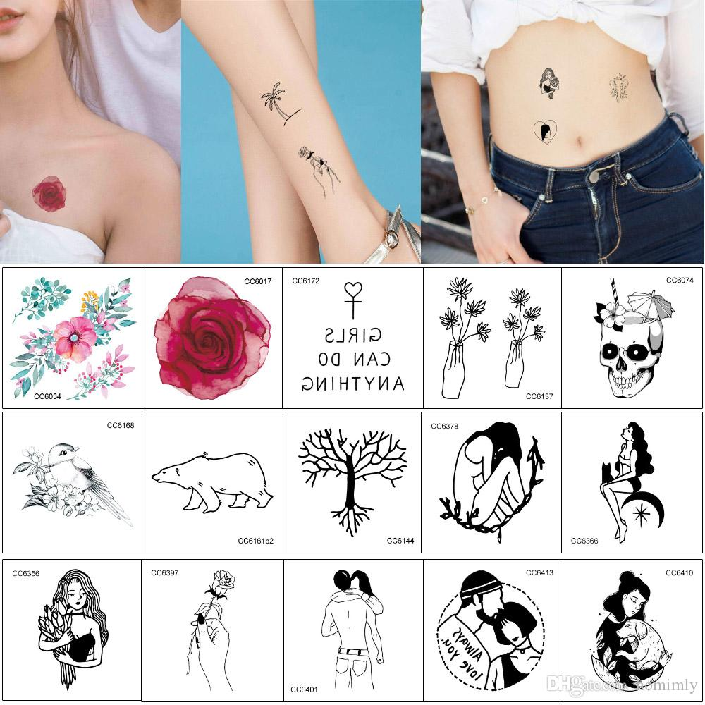 1483f536a 6cm*6cm CC Fake Small Temporary Tattoo Watercolored Flower Black Beauty  Cool Women Decal For Boy Girl Hand Neck Arm Leg Body Tattoo Stickers Henna  Tatoo ...