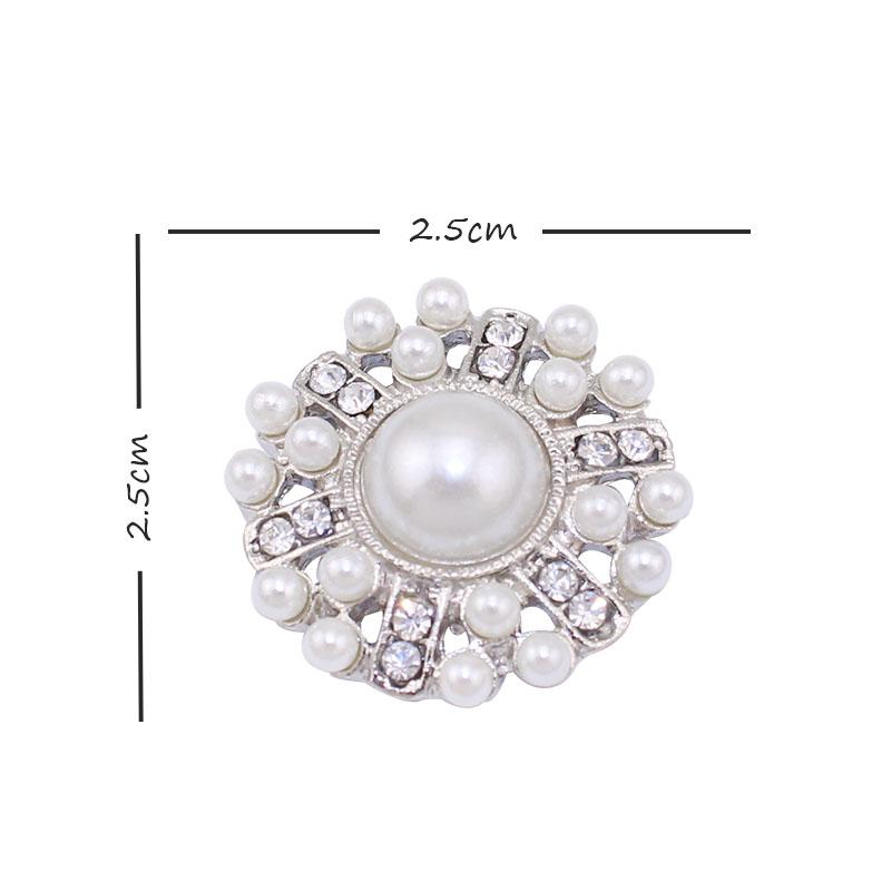 2019 Full Pearl Crystal Silver Flat Botton For Wedding Invitation