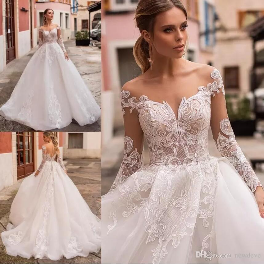 ffdb03aa8b7 Naviblue Latest Princess Wedding Dresses Scoop Neck Long Sleeve Lace Bridal  Gowns Saudi Luxurious Custom Made Illusion A-Line Wedding Dress