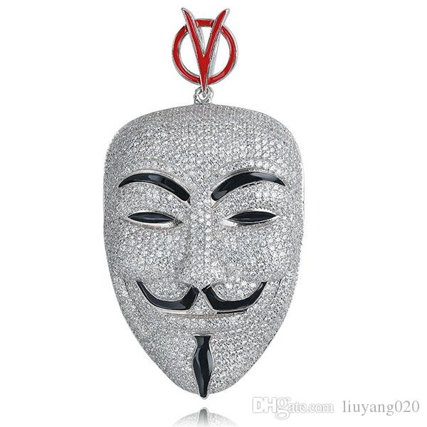Movie V for Vendetta ANONYMOUS Mask Jewelry Exaggerated Hacker Mask Necklaces Trendy Jewelry For Men Women Cosplay Gift