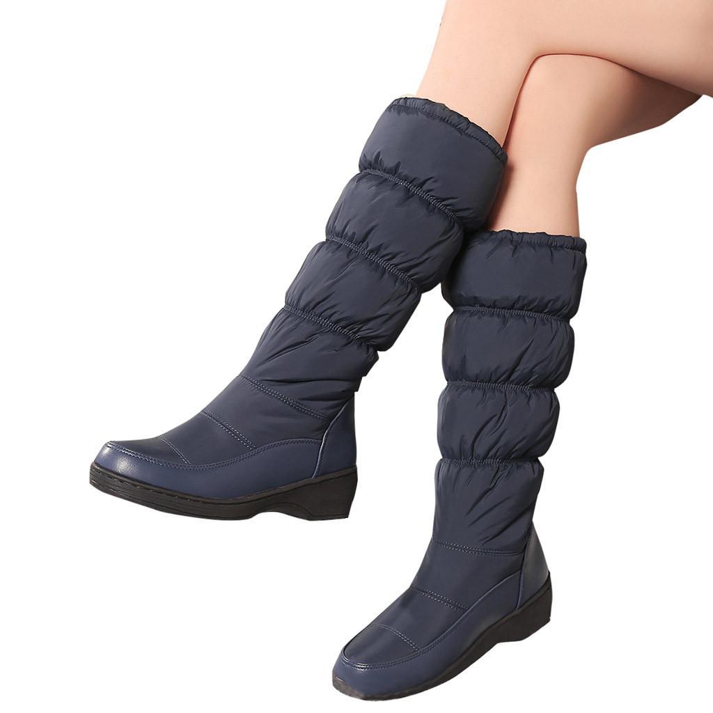 Acquista 2019 Stivali Da Neve Alta Tubo Caldo Nuovo Stile Botas Mujer  Spessore Tenere Caldo Donne Stivali Scarpe Semplici Donna Colori Solidi  Piatto O11 A ... b8be248cc8e
