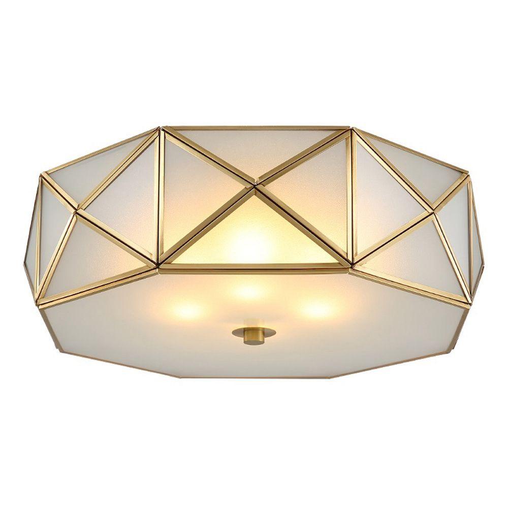2018 Oovov Fashion Copper Bedroom Ceiling Lamp Glass E27 42cm Study