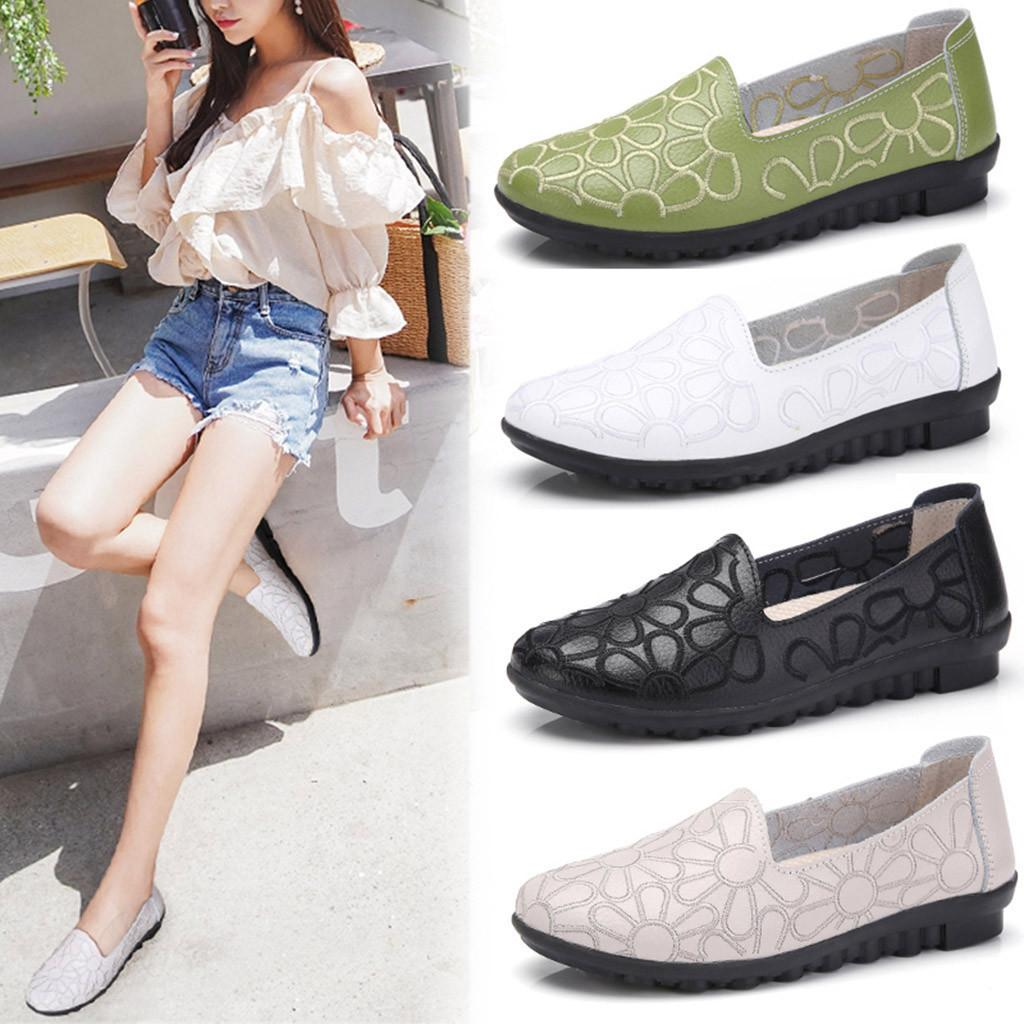 62a4d67bae5 2019 Women s Rain Pumps New Fashion Spring Summer Work Shoes Embroidery  Slip-on Loafers Shoes Soft Leisure Low Heel Waterproof