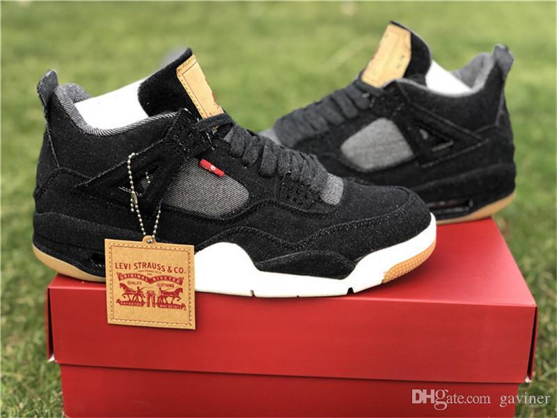 official photos 4bb8c 54d03 High Quality 4 4s Black White Denim Jeans Shoes Men's IV Black Denim  Sneakers Style Code AO2571-001 With Shoebox Size US5.5-12