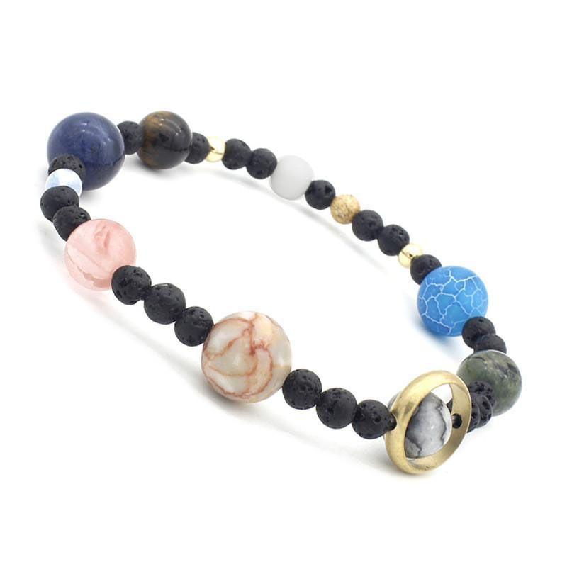 taglia 40 979e5 7ad32 Braccialetto del braccialetto del sistema solare Universo Galaxy Eight Bead  Bracciale per le donne Gioielli di moda regalo di San Valentino