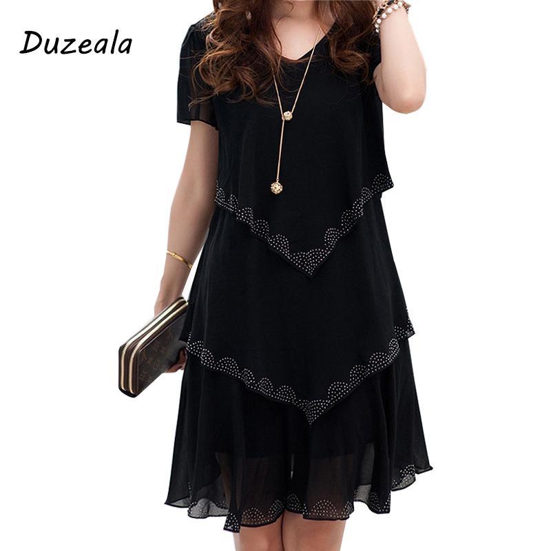 b0fc1feb4d 5xl Plus Size Women Clothing 2018 Chiffon Dress Summer Dresses Party Short  Sleeve Casual Vestido De Festa Blue Black Robe Femme Y19021414 Evening Wear  ...