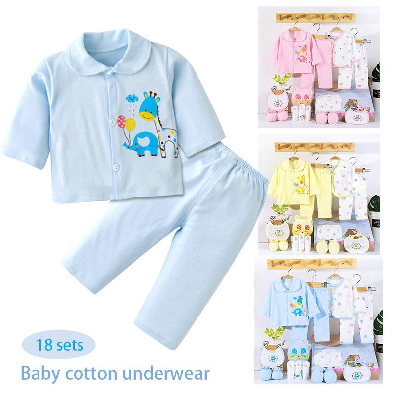 18pcs Animal Pattern Baby 18 Clothes Baby Underwear Set Infant Summer Carton Bed Floor Indoor Casual Cartoon Jumpsuit Cute