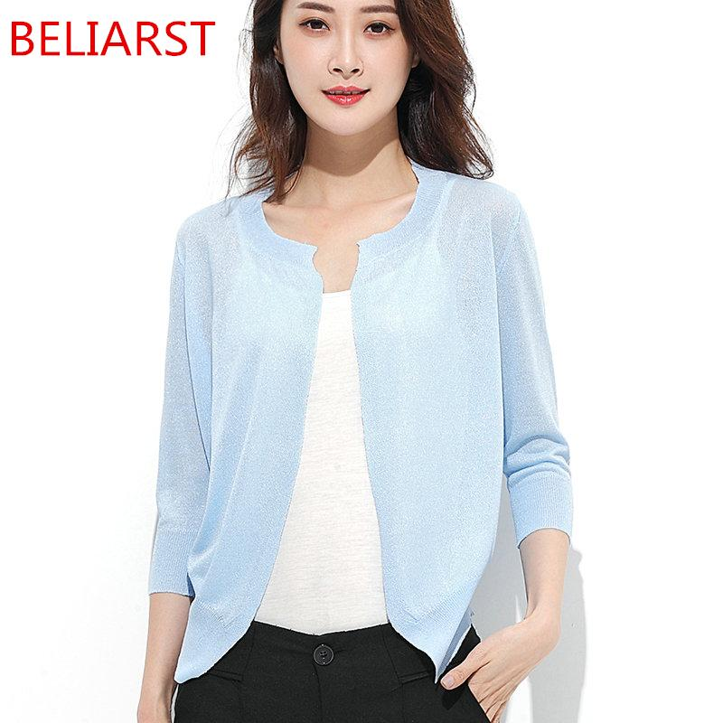 BELIARST 2017 Summer New Woman Sweater Round Neck Cardigan Self-Cultivation Style Air-Conditioned Shirt Shawl Jacket