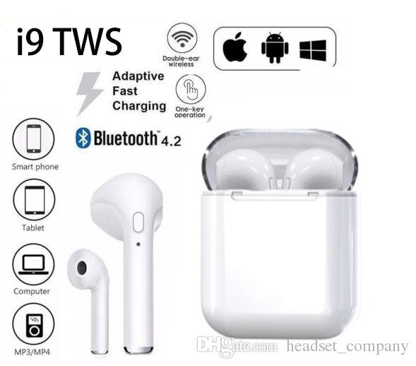 77a468d3df8 New i9 TWS Wireless Bluetooth Earphone Headphones HIFI Stereo Mini Double Earbuds  Headsets with mic Charging Box for Android Huawei