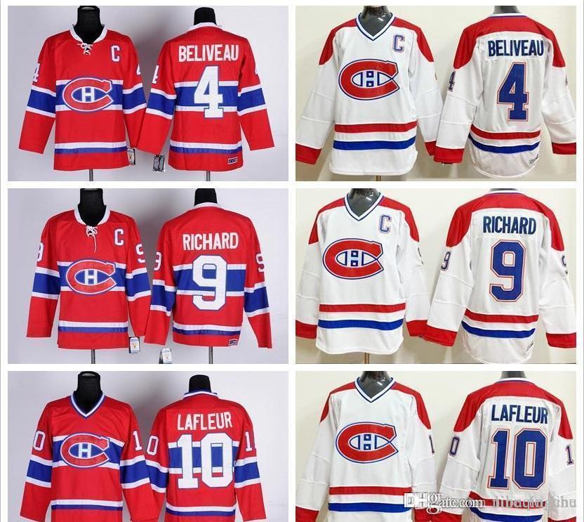 Jerseys Ice Hockey 4 Jean Beliveau Jersey Red White 10 Guy Lafleur 9  Maurice Richard CCM Jerseys Hockey Jersey Guy Lafleur Jean Beliveau Online  with ... 35a2ea937
