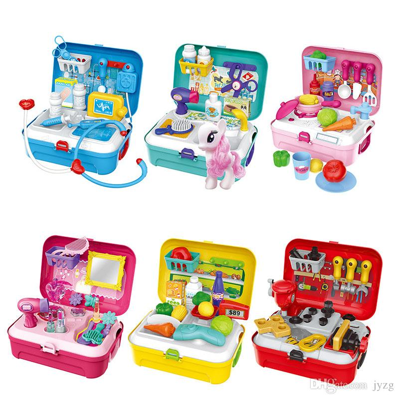 Children Backpack Prentend Play Toys Kitchen Tool Makeup Doctor Play Dress up toys tool suitcase toy set Christmas Gifts for children