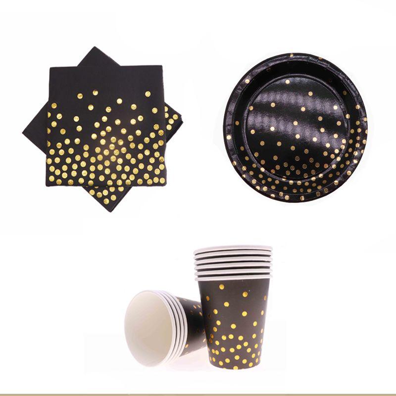 De Vaisselle Papier Or En Mariage Jetable D 40pcs Feuille Décoration Fête Tasse Assiette Anniversaire Fournitures Noir yPv8n0mNwO