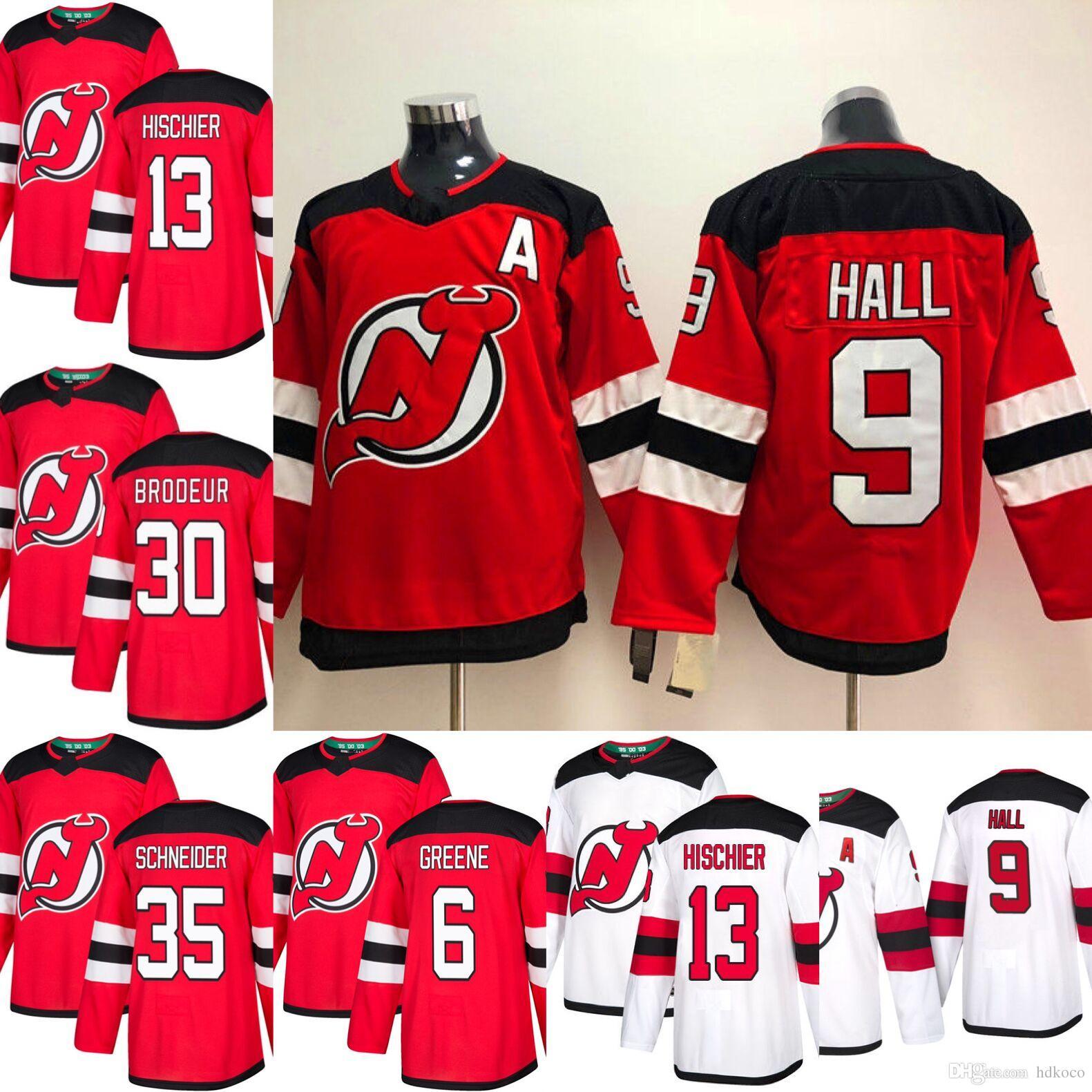2019 2018 2019 Season New Jersey Devils Jersey 9 Taylor Hall 13 Nico  Hischier 30 Martin Brodeur 35 Cory Schneider Red Hockey Jerseys From  Hdkoco 48c85541b