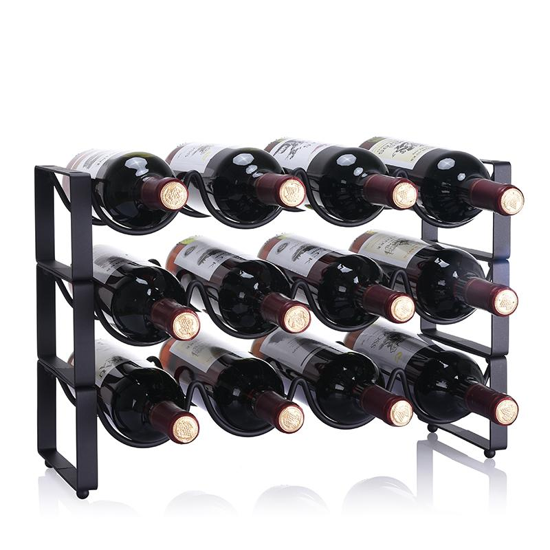 Simple moderne Superposition Creative Wine Rack Ornements Bouteille de vin Wine Holder Cabinet de fer vente chaude