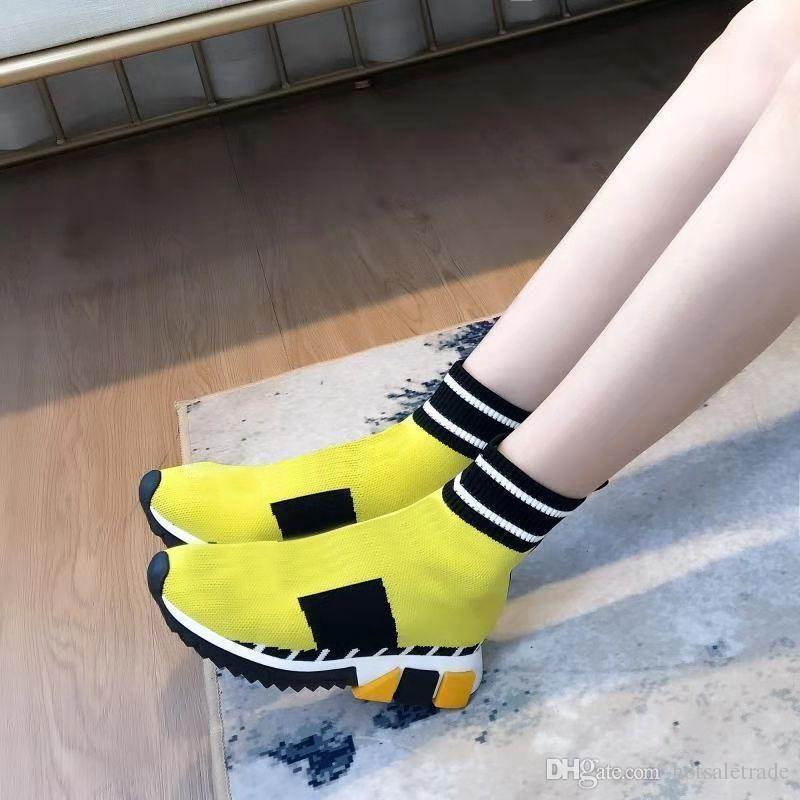 94d0dcfa Compre Zapatos De Calcetines Amarillos Zapatos De Diseñador De Marca  Descuento Barato Moda Hombres Mujeres Calzado Informal Zapatillas De  Deporte De Speed ...