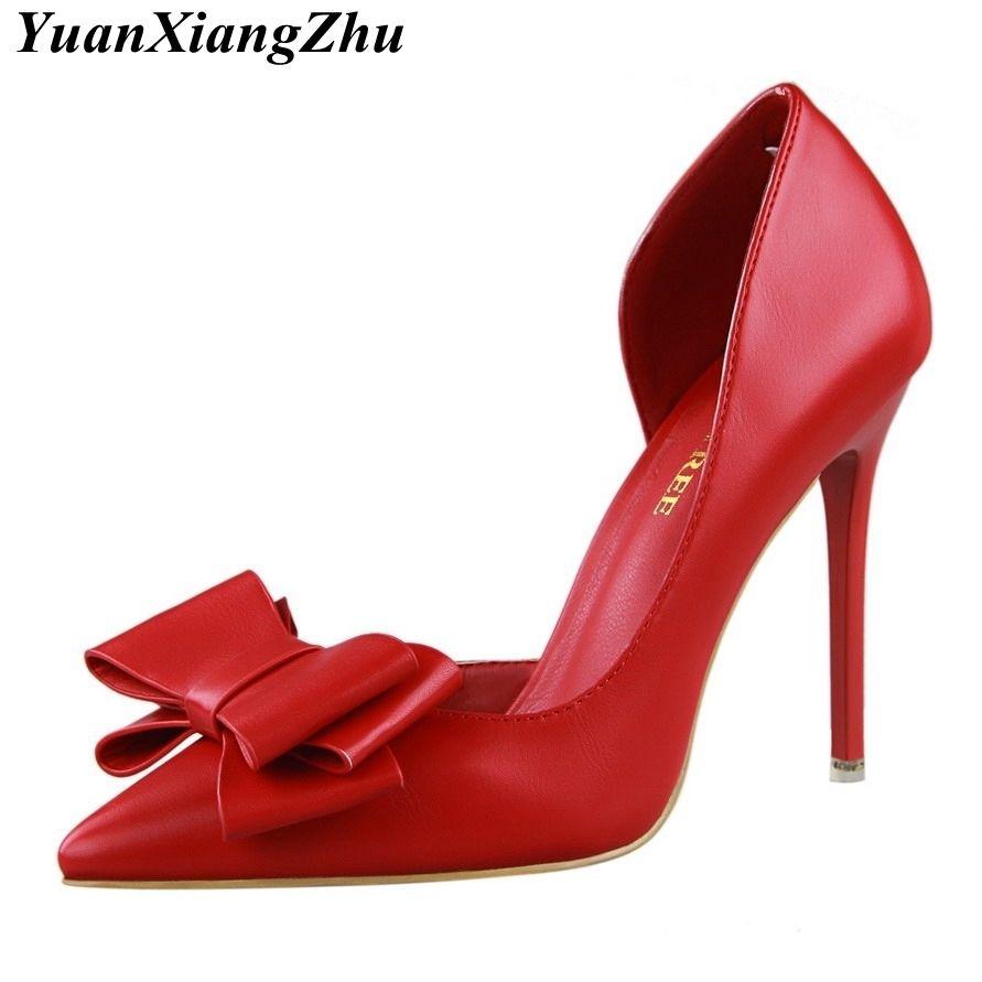 1605e8d4a82a Dress High Quality Women Pumps Sexy High Heels Wedding Shoes Pointed Toe  Stiletto Bow Shoes Female 2019 Fashion Women Heel Shoes Dansko Shoes Tennis  Shoes ...
