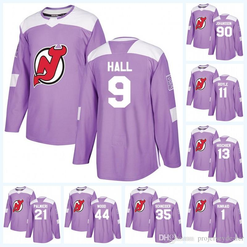 13 Nico Hischier New Jersey Devils Violet Lutte Cancer Cancer Taylor Hall Miles Bois Cory Schneider Kyle Palmieri Maillot De Hockey Marcus Johansson