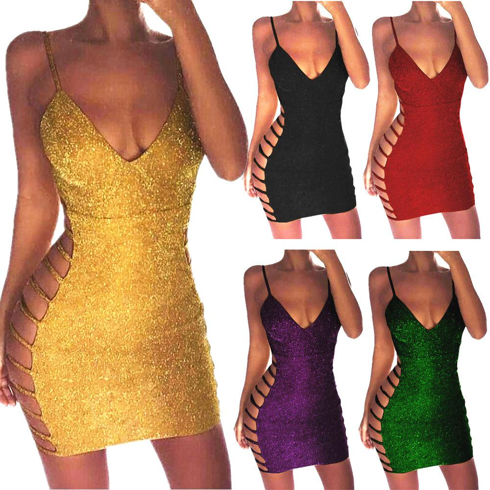e17930df 2019 Sexy Dress Women Deep V Neck Halter Backless Choker Slit Shiny Sequin  Bodycon Hollow Out Mini Party Dresses Vestido 20 From Fyw0529, $20.98 |  DHgate.
