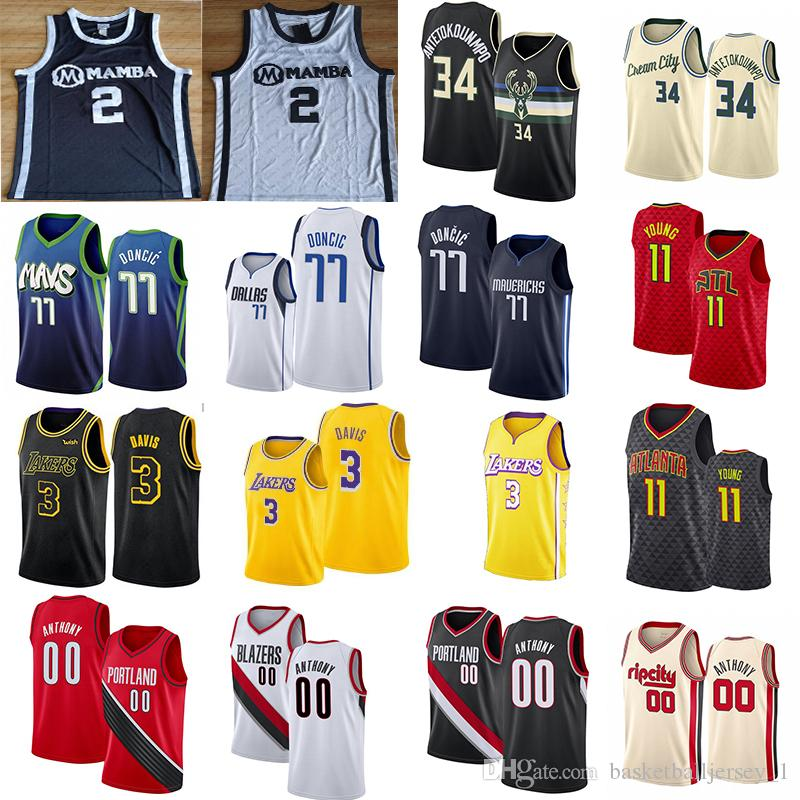 Carmelo 00 Anthony 3 Davis Giannis 34 Antetokounmpo Jerseys 77 Doncic 11 Young 2 Gigi College Men NCAA Basketball Jersey