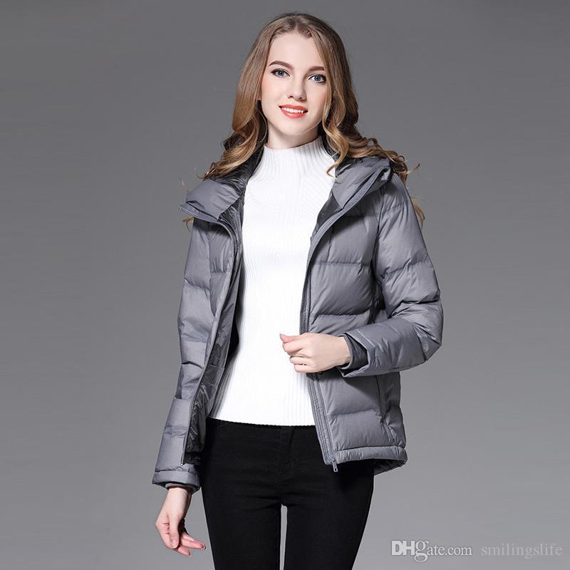 0f391655ec7 Women Down 2018 Winter Fashion Women Padded Short Hooded White Duck ...