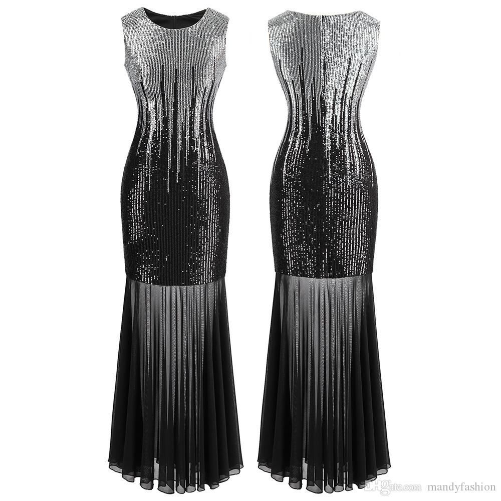Angel-fashions Women Classic Silver & Black Sequins Transparent Tulle Maxi Sheath Cocktail Evening Dress Vintage Party 458