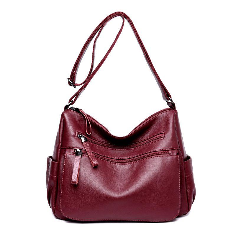 4df6fd2588ba Women Hobos Handbag Fashion Zipper PU Leather Shoulder Bag Elegant Office  Ladies Messenger Bag For Female Totes Shopping Bags Handbag Sale Handbag  Brands ...