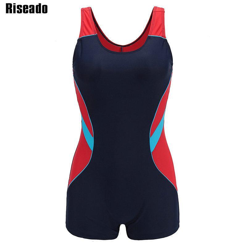 9f4269a035cd4 2019 Riseado New One Piece Swimsuit 2019 Sport Swimwear Women Patchwork Women  Swimsuits Competitive Racer Back Boyleg Bathing Suits Y19042203 From  Shenyan01 ...
