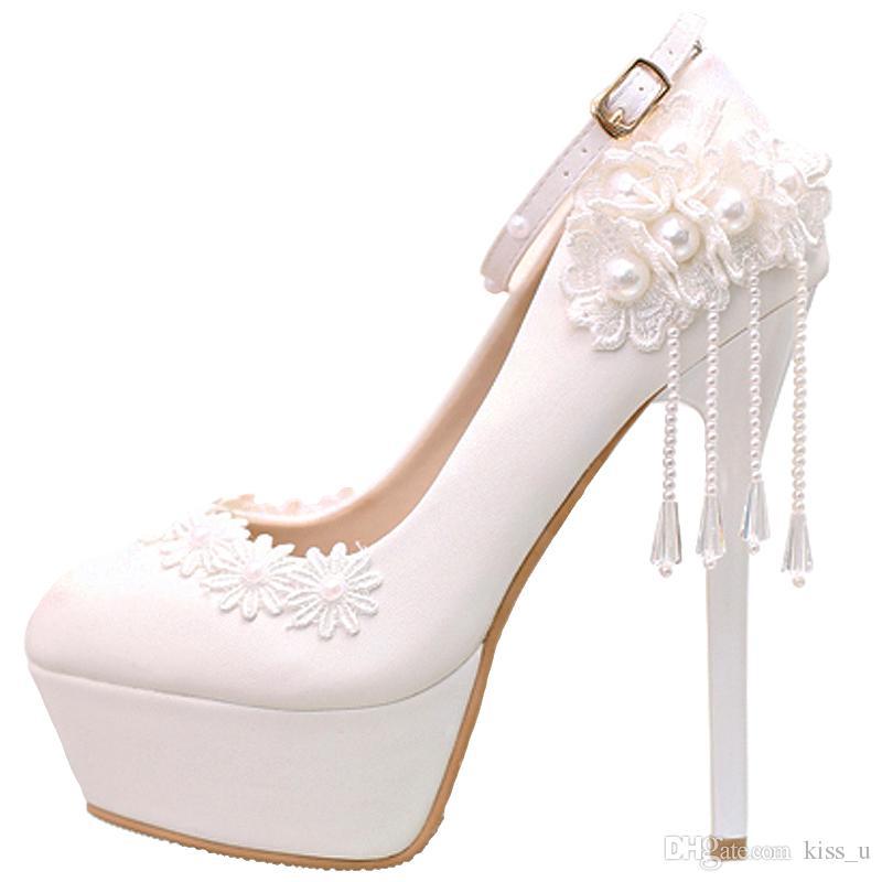 5138a2ffff Sapatos Para Festa De Casamento Mulheres Sapatos De Salto Alto Sapatos De  Plataforma Saltos Finos Sapatos Femininos Sapatos De Casamento Branco  Bridals 2018 ...