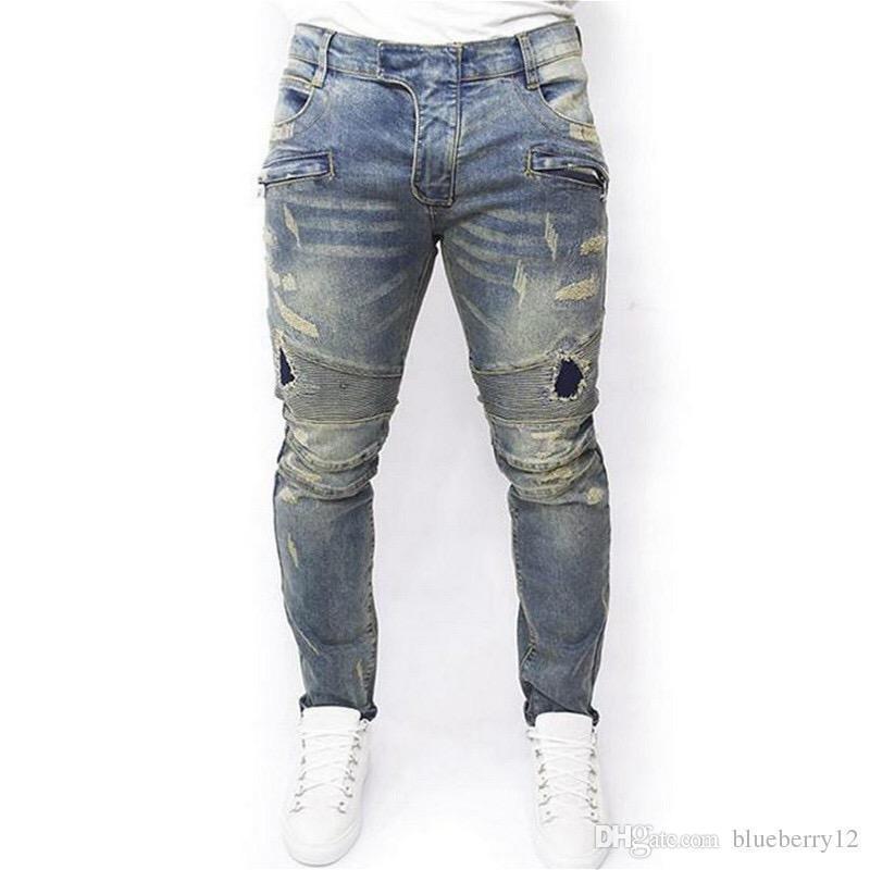 4bfafba84e Compre Diferentes 2019 M 7XL Pantalones Vaqueros De Diseñador Para Hombre  Agujero Roto Lavado Pantalones De Mezclilla Estilo De Calle Rayado Lápiz  Delgado ...