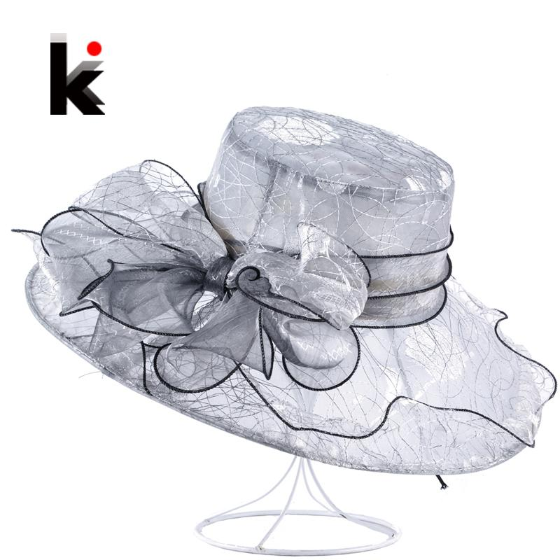 2f06f9441bb0e Womens Organza Bow Knot Bucket Hat Wedding Party Cap For Ladies Kentucky  Derby Hats Female Summer Wide Birm Sun Chapeau Feminino D19011103 Trilby Hat  Top ...