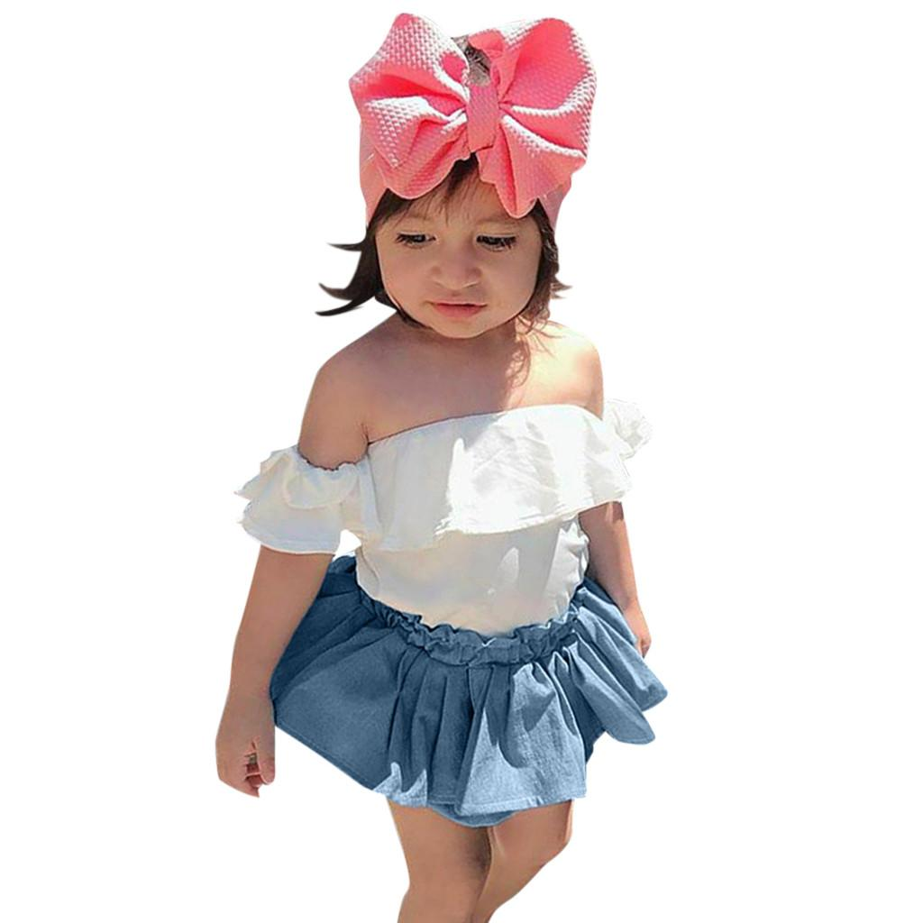 Fashsiualy 6M-3T Baby Girls Clothes Sets Toddler Baby Girls Off Shoulder Solid Print Ruffles Tops+Pantskirt Outfits Set