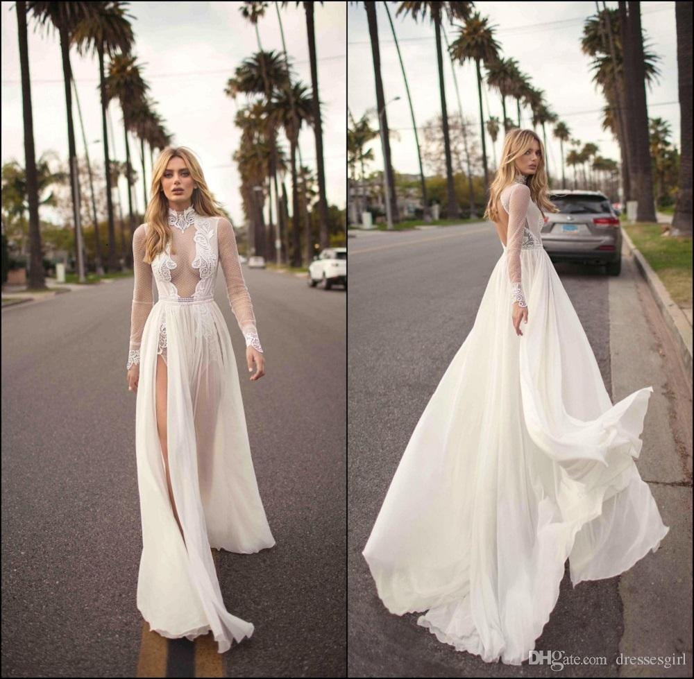 4dca797f57e6 Discount Sexy High Slit Backless Chiffon Wedding Dresses Bohemian High Neck  Long Sleeve Lace Appliques Bridal Gowns Beach Robe De Mariee BC1039 Aline  Dress ...