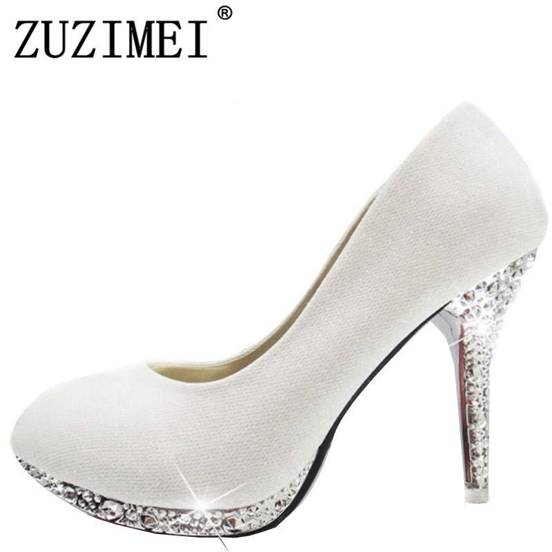 ddb5d1e09183 Dress 2019 Women S Wedding Shoes Woman Bridal Evening Party Red High Heels  Shoes Sexy Women Pumps Glitter White Bridal Shoes Tacones Heels Shoes  Online From ...