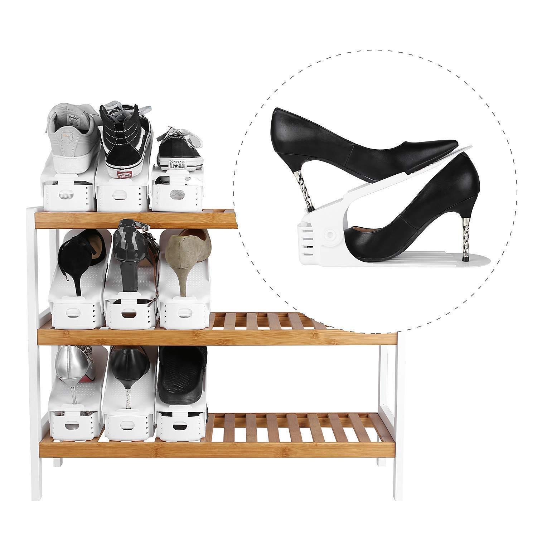 Melhor Lote DE 10 Sapato Ajustável Suporte Para A Pilha de Sapatos Sapato Organizador Espaço Saver um Sapato Suporte Rack De Plástico Branco