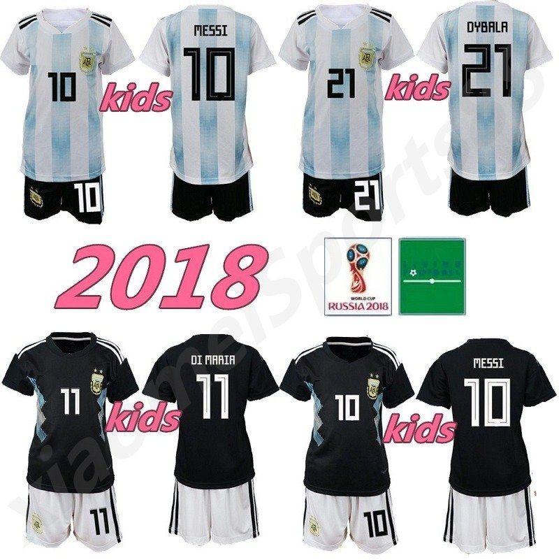 c141a7ac9ff 2019 2018 Argentina World Cup Kids Kit MESSI DYBALA Argentina Child Home  Away Soccer Jersey AGUERO DI MARIA HIGUAIN 2018 Children Football Shirts  From ...