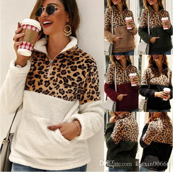 Designer Hoodies Tops Women Leopard Patchwork Pullover Long Sleeve Zipper Sherpa Sweatshirt Soft Fleece Outwear Woman Sweatshirts