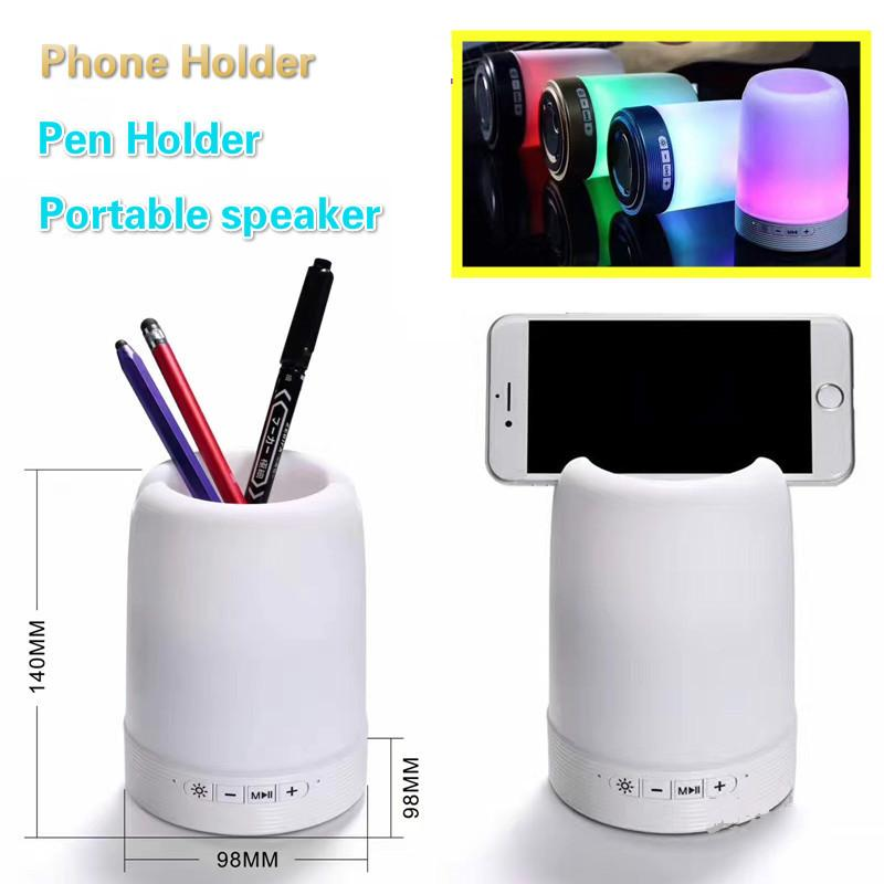 HF-Q6 LED Light Bluetooth Speaker Outdoor Wireless Portable Loudspeaker with Phone Holder Pen Container Stereo Soundbox Night Light