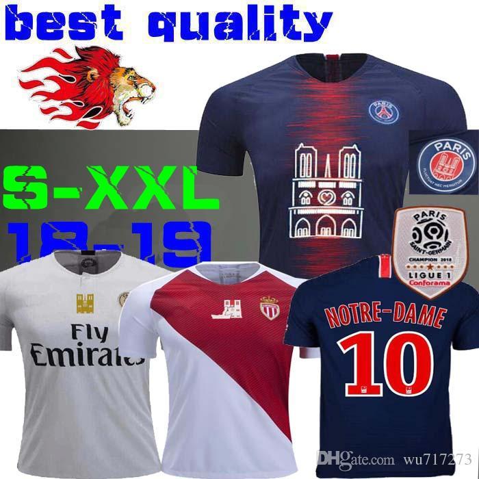 timeless design ad921 3d145 18 19 psg Notre-Dame Jersey 2018 2019 mbappe maillot de foot CAVANI 11 DI  MARIA VERRATTI Notre Dame Mbappé Home BLUE Football shirts Monaco
