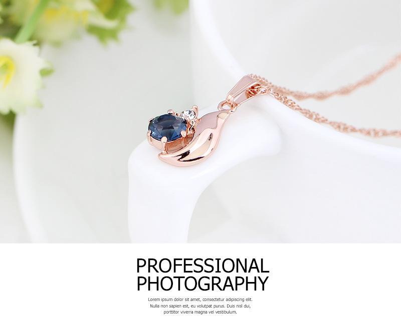 HC Vintage Blue Crystal Elegant Jewelry Sets for Girl Children Gift Fashion Gold Ring Earring Necklace Set Bridal Wedding Gift F