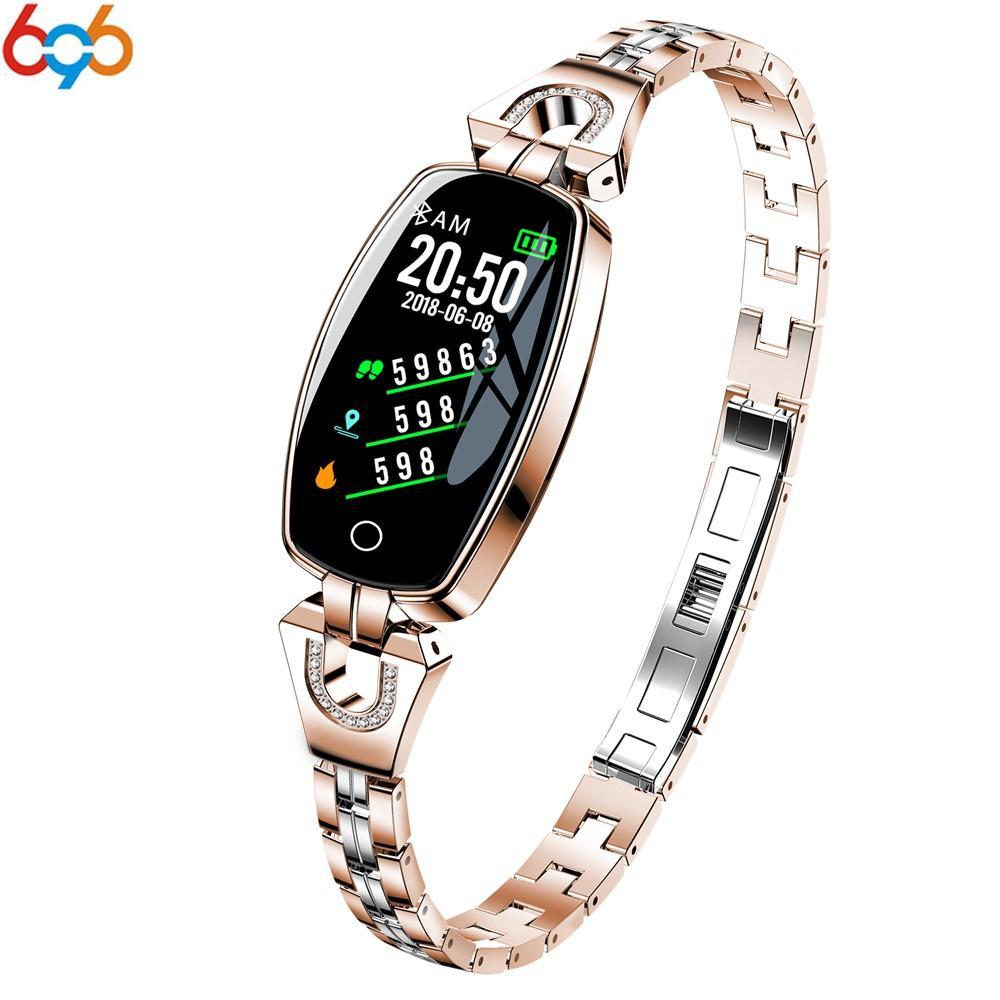 5e3bbfce3f41 Reloj Pulsera Inteligente 696 H8C Reloj Inteligente Para Mujer Pulsera  Elegante Para Mujer Reloj De Moda Pulsera De Acero Inoxidable Joya Reloj  Negocio ...