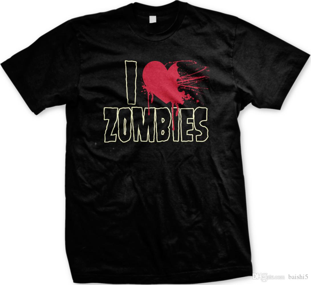 I Love Zombies Blood Undead Walker Apocalypse Funny Mens T-shirt