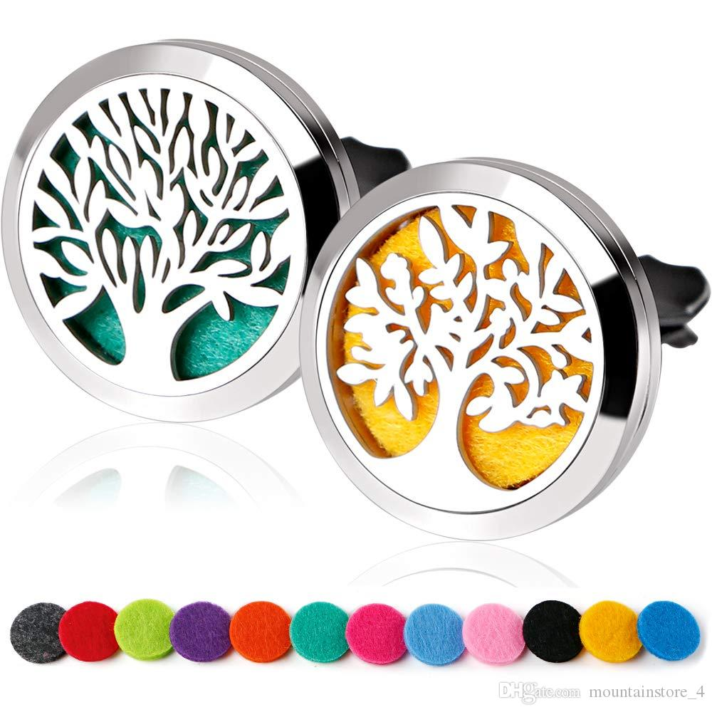 30mm Tree Of life Car Diffuser Locket Vent Clip Essential Oil Jewelry Aromatherapy Perfume Locket Pads Gifts Drop Shipping