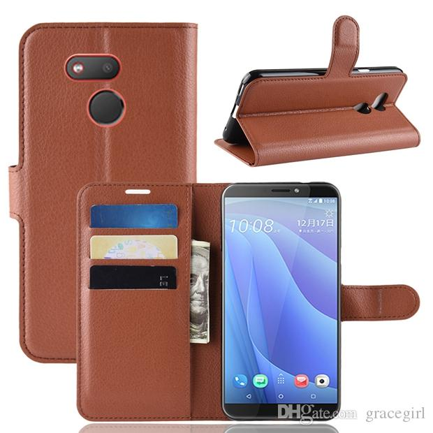 best sneakers 6e5ca 8d6c7 For HTC Desire 12S MOTO E5 Play GO ASUS Max Pro M2 ZB631KL Huawei NOVA 4  Litchi Wallet Leather Case Card Slot Money Stand Flip Cover 10pcs