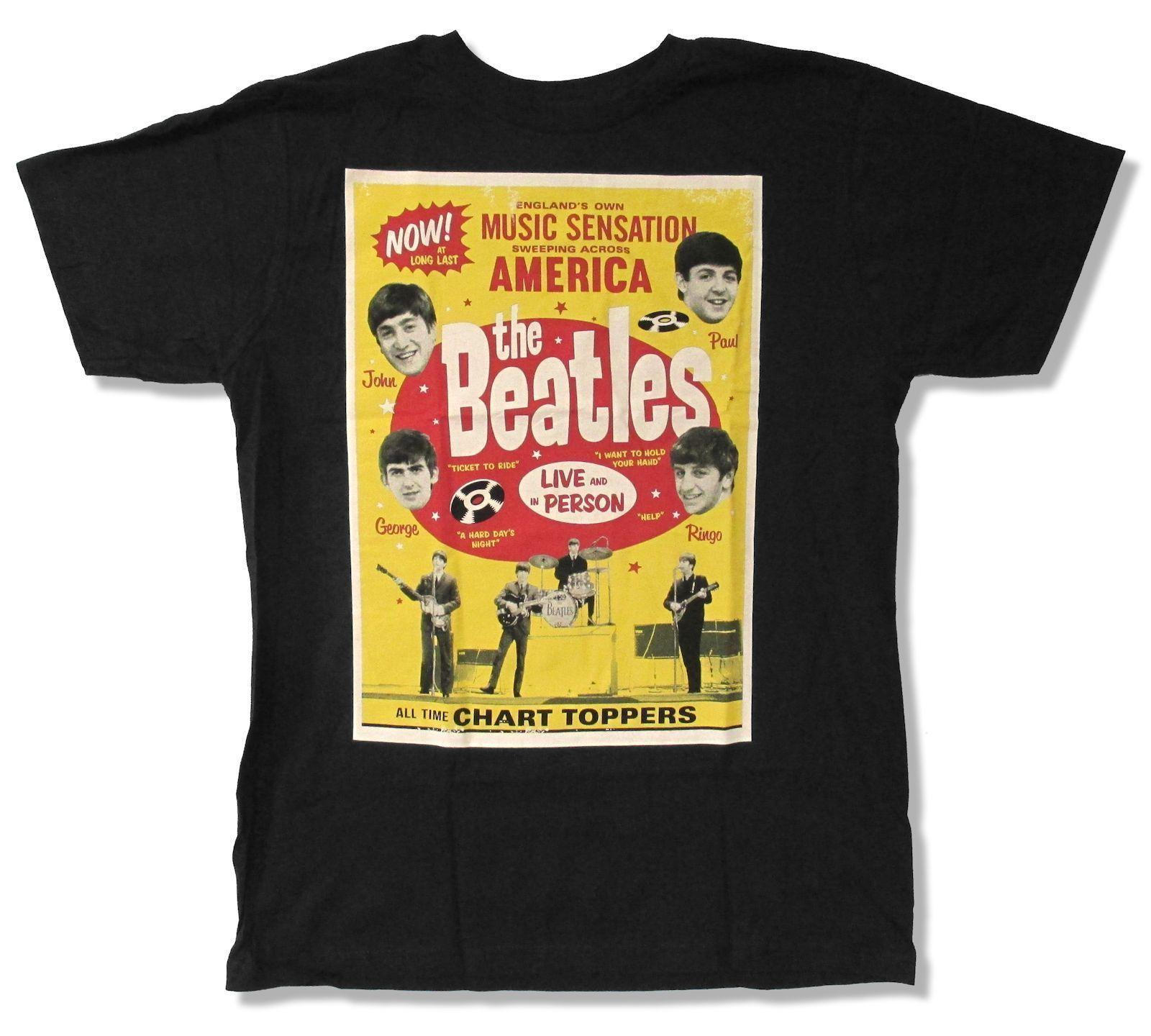 "THE BEATLES ""CHART TOPPERS"" BLACK T-SHIRT NEW OFFICIAL HELP HOLD YOUR HAND"
