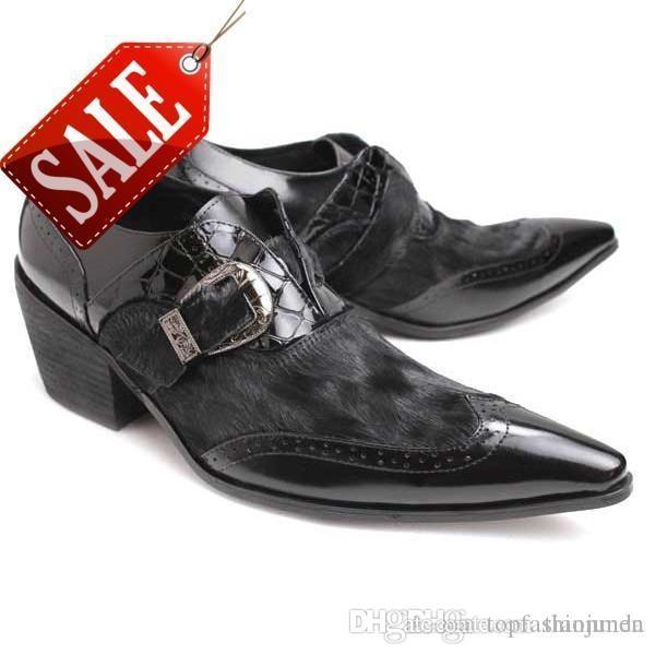 1f88309542aa71 Compre Zapatos De Tacón De 6.5 Cm Con Tacones Para Hombres Zapatos De Vestir  De Cuero Para Hombre De Hombre, Con Punta En Punta Negra, Fiesta De Moda Y  ...